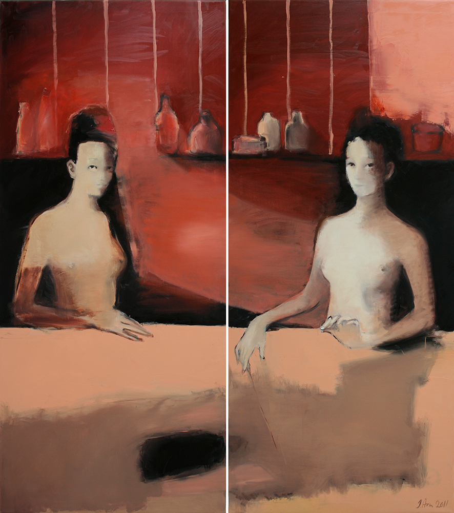 Inga Aru_Follow_diptych_2011_oil on canvas_each 160 x 70 cm