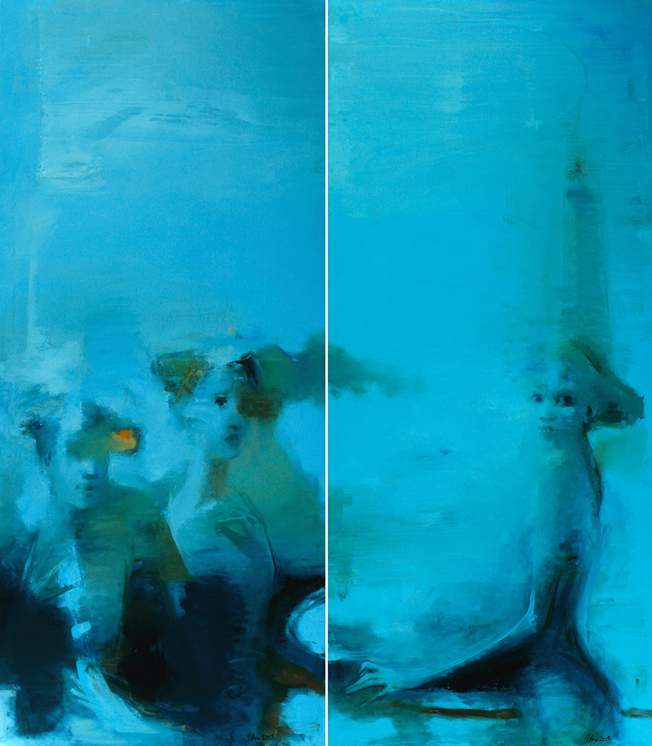 Inga Aru_Triplum_diptych_2005_oil on canvas_each 160 x 70 cm