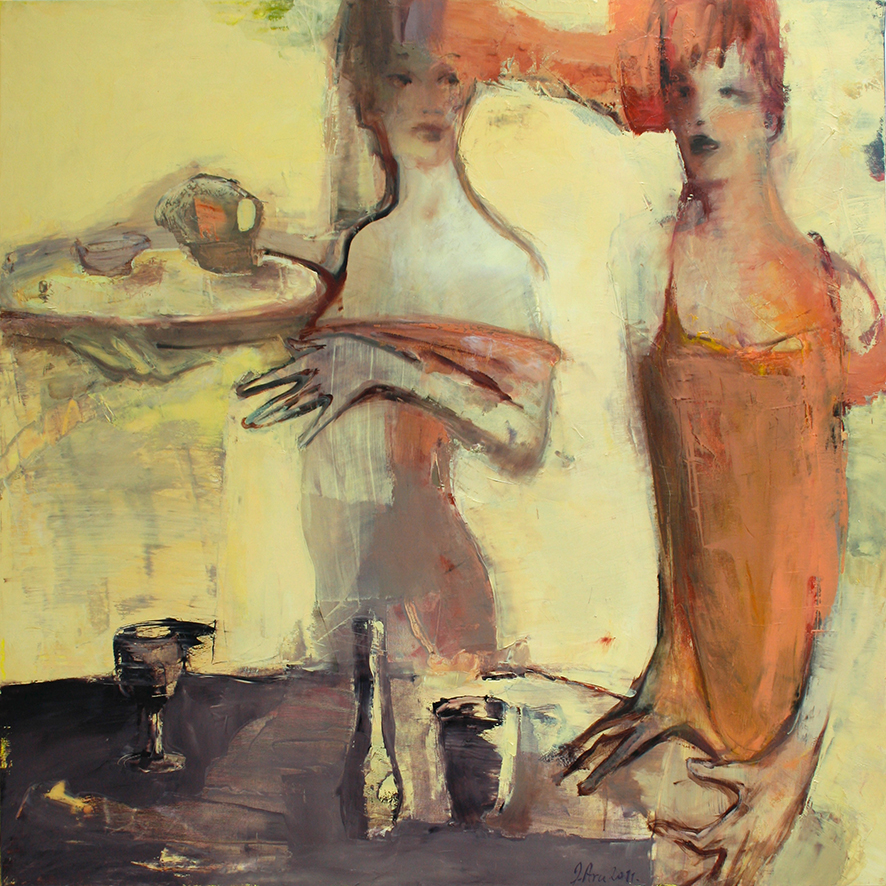 Inga Aru_Waitresses_ 2011_oil on canvas_100 x 100 cm